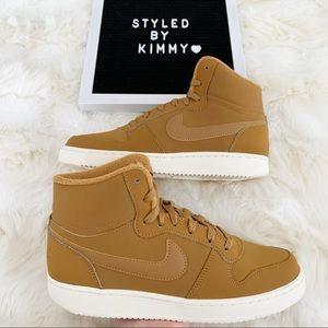 🌸 NIKE Ebernon Mid Sneakers Shoes New Beige